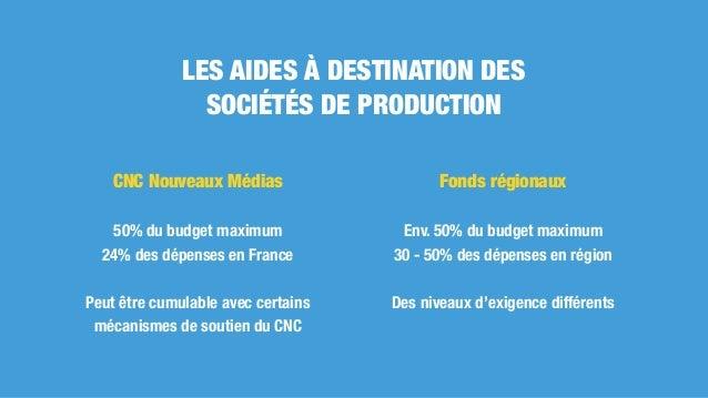 CNC Nouveaux Médias 50% du budget maximum 24% des dépenses en France Peut être cumulable avec certains mécanismes de souti...