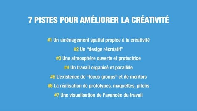 """7 PISTES POUR AMÉLIORER LA CRÉATIVITÉ #1 Un aménagement spatial propice à la créativité #2 Un """"design récréatif"""" #3 Une at..."""