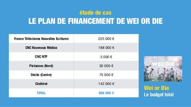 étude de cas LE PLAN DE FINANCEMENT DE WEI OR DIE Wei or Die Le budget total France Télévisions Nouvelles Ecritures 2250...