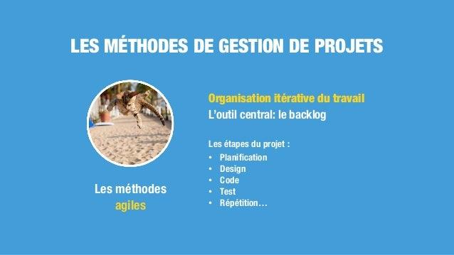 Organisation itérative du travail L'outil central: le backlog Les étapes du projet : • Planification • Design • Code • Test...