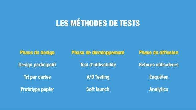LES MÉTHODES DE TESTS Phase de design Design participatif Tri par cartes Prototype papier Phase de développement Test d'ut...