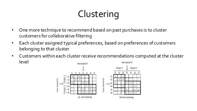 Clustering • One more technique to recommend based on past purchases is to cluster customers for collaborative filtering •...