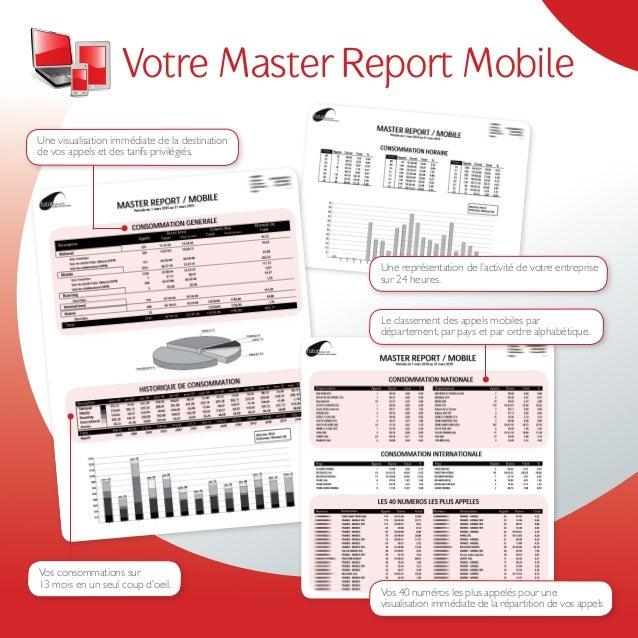 Votre Master Report MobileUne visualisation immédiate de la destinationde vos appels et des tarifs privilégiés.           ...