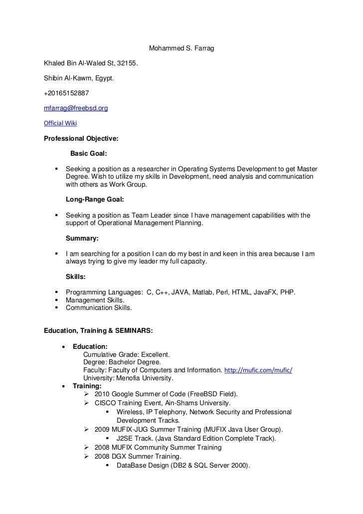 Nice Master Resume. Mohammed S. FarragKhaled Bin Al Waled St, 32155.  Master Resume