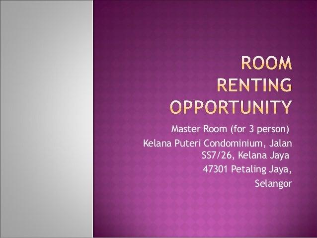 -Master  Room (for 3 person)-Kelana Puteri Condominium, Jalan               SS7/26, Kelana Jaya              -47301 Petali...
