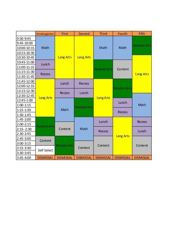 Kindergarten First Second Third Fourth Fifth 9:30-9:45 9:45-10:00 10:00-10:15 10:15-10:30 10:30-10:45 10:45-11:00 11:00-11...