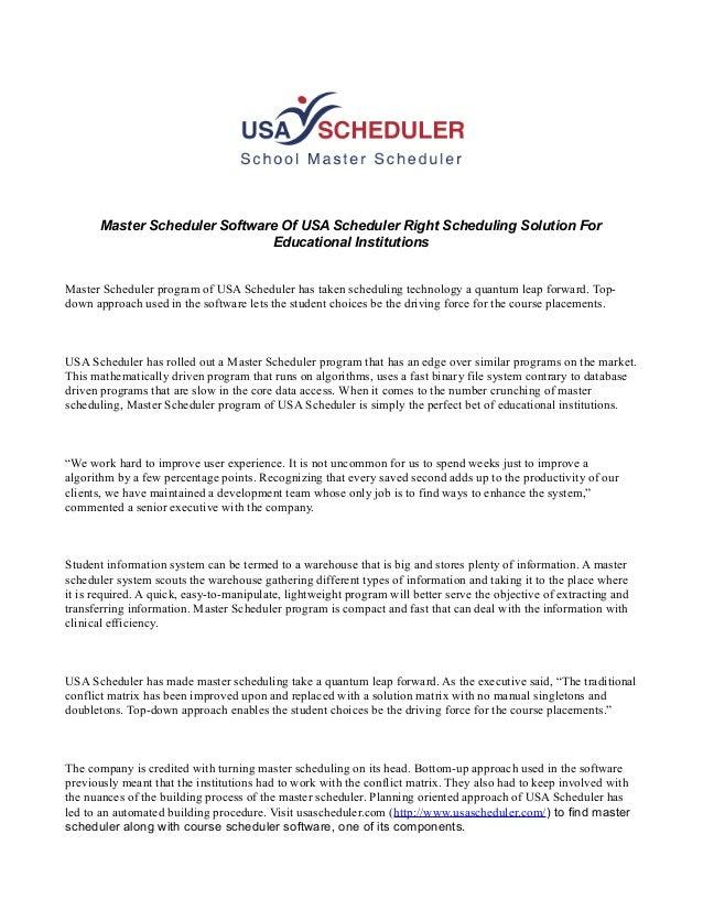 Master scheduler software of usa scheduler right scheduling solution …