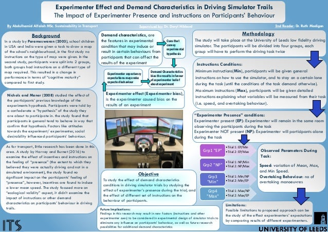 Experimenter Effect and Demand Characteristics in Driving Simulator Trails The Impact of Experimenter Presence and instruc...