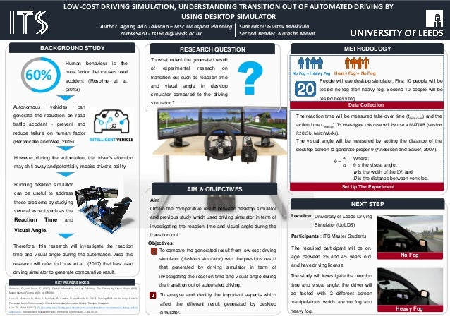 LOW-COST DRIVING SIMULATION, UNDERSTANDING TRANSITION OUT OF AUTOMATED DRIVING BY USING DESKTOP SIMULATOR Author: Agung Ad...