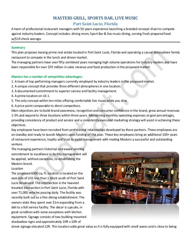 MASTERS GRILL, SPORTS BAR, LIVE MUSIC Port Saint Lucie, Florida A team of professional restaurant managers with 50 years e...