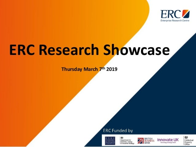 ERC Research Showcase Thursday March 7th 2019
