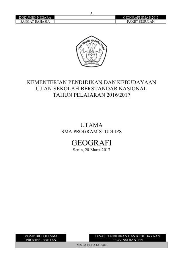 Soal Usbn Geografi K13 2016 2017