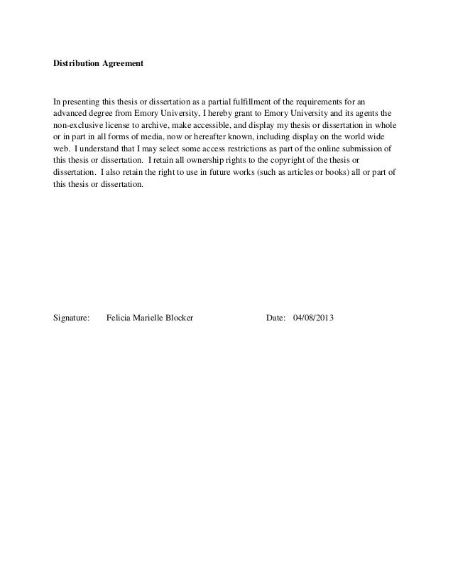 Distribution AgreementIn presenting this thesis or dissertation as a partial fulfillment of the requirements for anadvance...