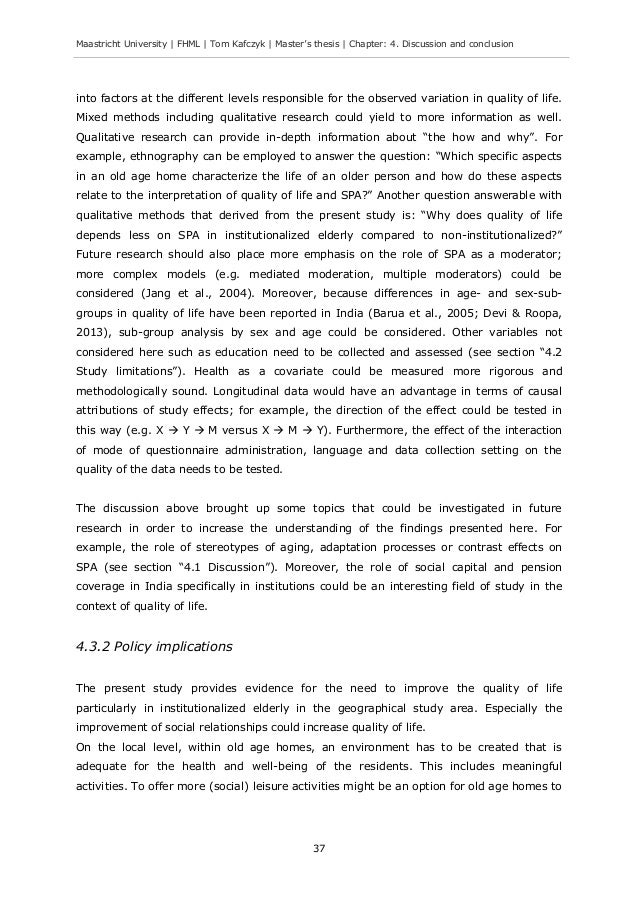 thesis on quality of life I, giulia greco, confirm that the work presented in this thesis is my own where   relevant dimensions of quality of life, or capabilities the capabilities were.