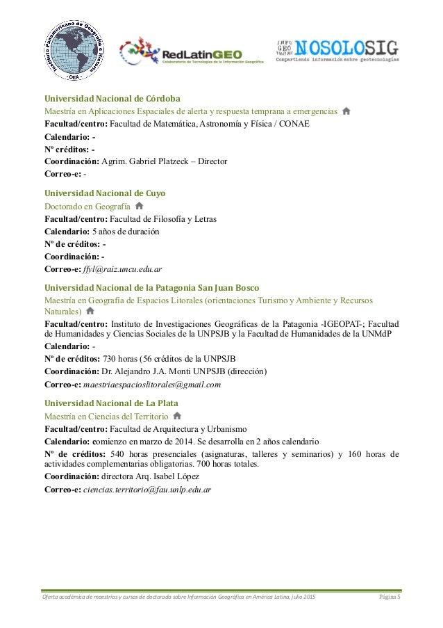 Omar Codazzi Calendario.Masters Y Cursos De Doctorado Sobre Informacion Geografica