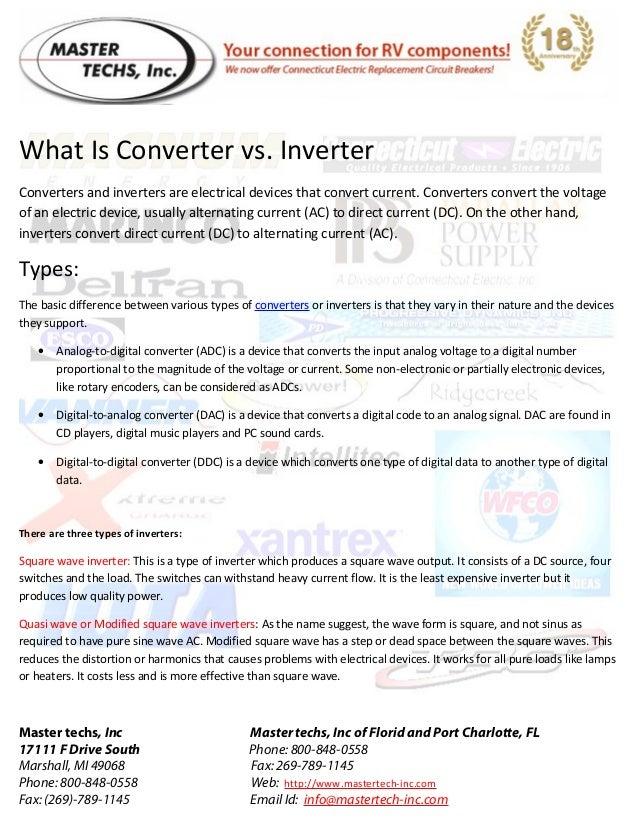 Mastertech inc present rv power converter & inverters tech