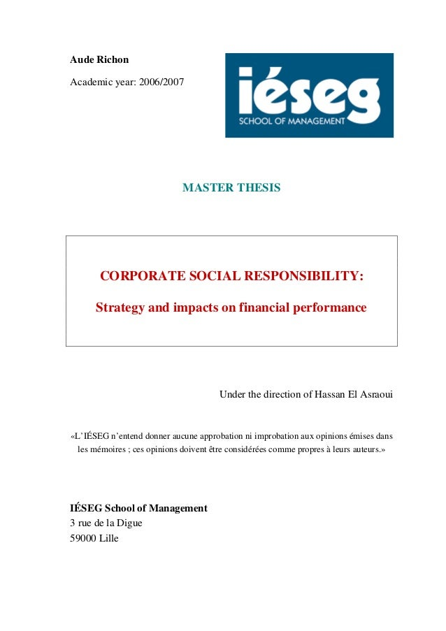 master thesis corporate social responsibility Corporate and social responsibility the case of volkswagen - viswa krishna vyas tippabhotla - elaboration - business economics - business management, corporate governance - publish your bachelor's or master's thesis, dissertation, term paper or essay.