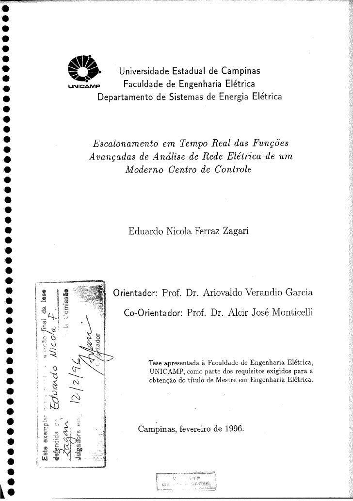 Master Thesis - Zagari, Eduardo Nicola Ferraz: Escalonamento em Tempo Real das Funções Avançadas de Análise de Rede Elétri...