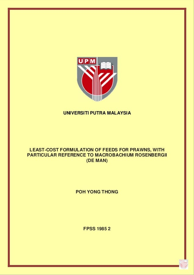 Master thesis: Least-cost formulation of prawn feed