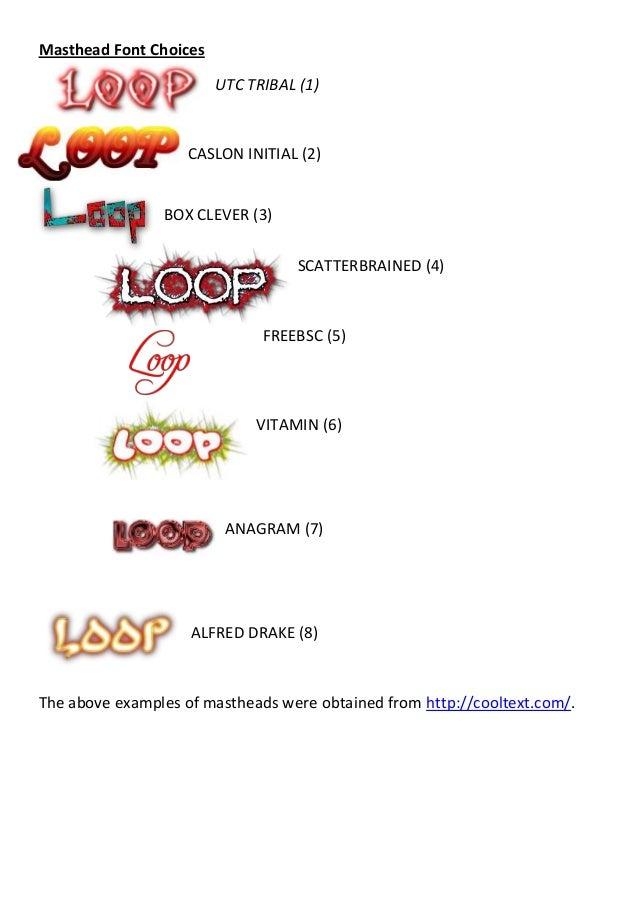Masthead Font Choices                        UTC TRIBAL (1)                    CASLON INITIAL (2)                BOX CLEVE...