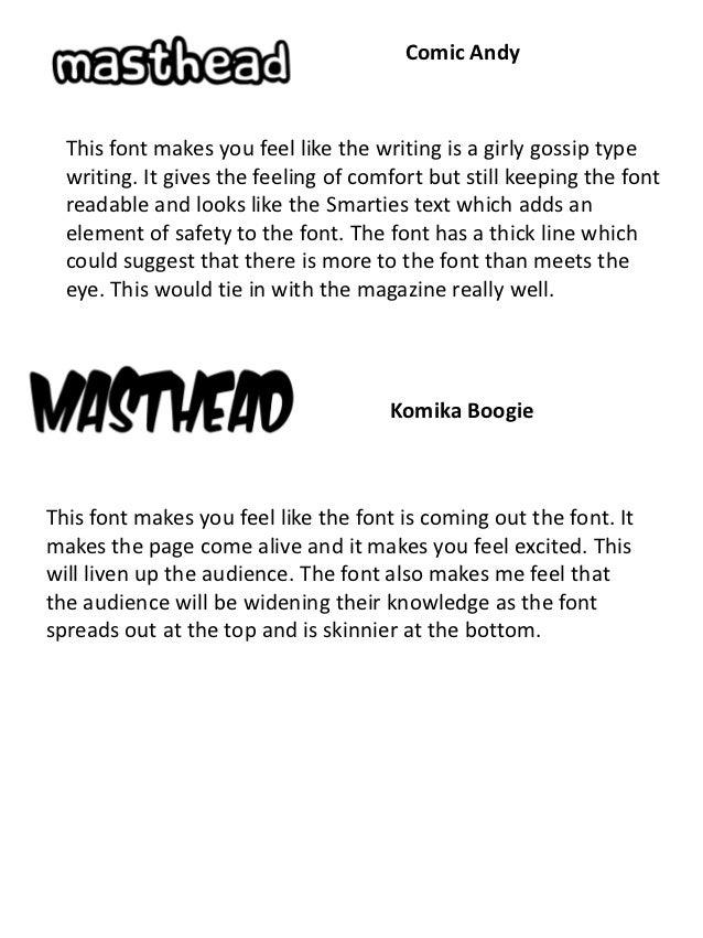 M asthead fonts