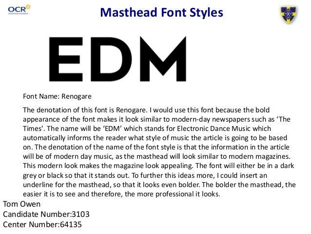 Masthead font styles