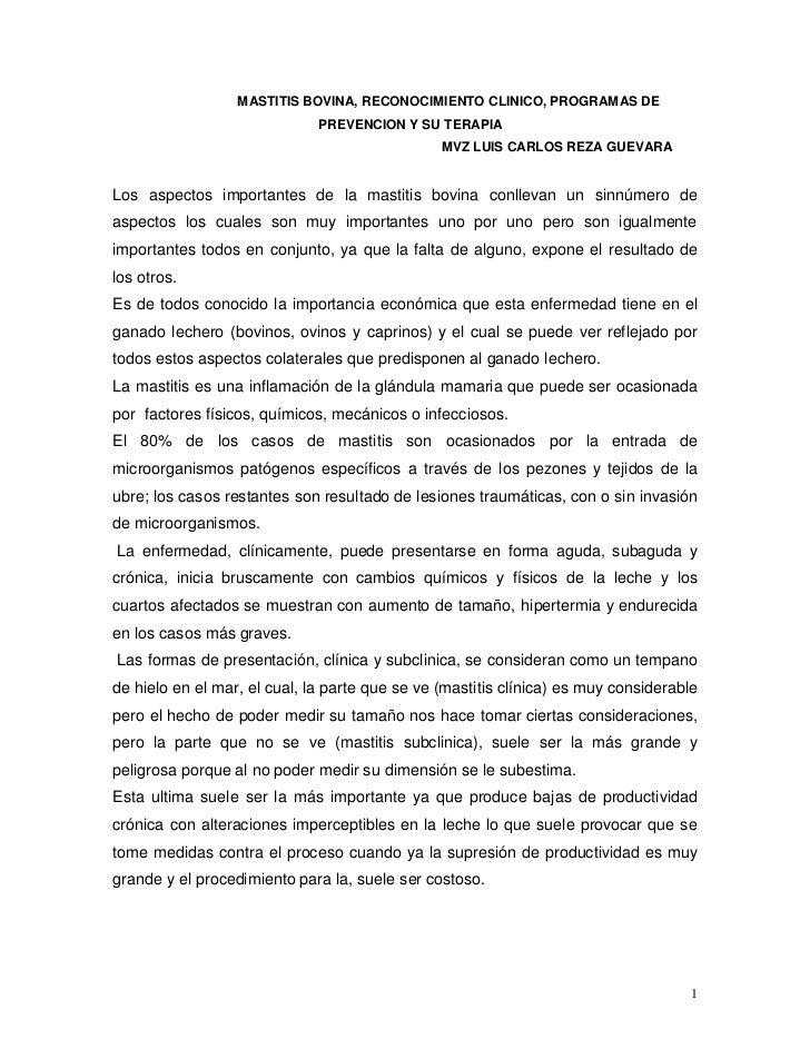 MASTITIS BOVINA, RECONOCIMIENTO CLINICO, PROGRAMAS DE                               PREVENCION Y SU TERAPIA               ...