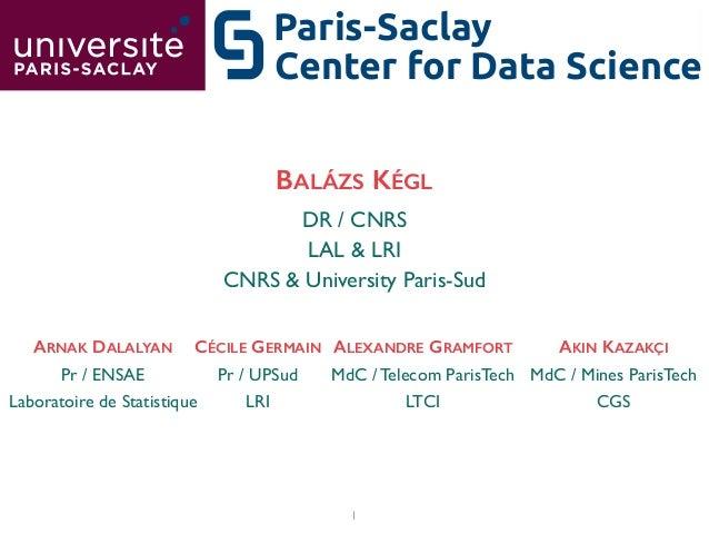 1 Center for Data Science Paris-Saclay DR / CNRS  LAL & LRI  CNRS & University Paris-Sud BALÁZS KÉGL Pr / UPSud  LRI CÉ...