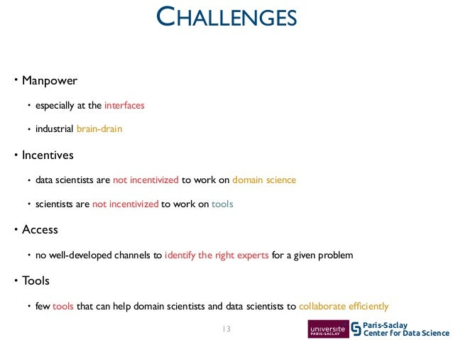 Center for Data Science Paris-Saclay • Manpower  • especially at the interfaces  • industrial brain-drain  • Incentives...