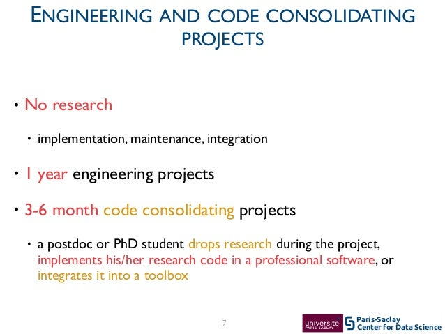 Center for Data Science Paris-Saclay17 ENGINEERING AND CODE CONSOLIDATING PROJECTS • No research  • implementation, maint...