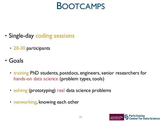 Center for Data Science Paris-Saclay20 BOOTCAMPS • Single-day coding sessions  • 20-30 participants  • Goals  • trainin...