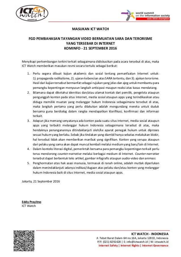 ICT WATCH - INDONESIA Jl. Tebet Barat Dalam 6H no.16A, Jakarta 12810, Indonesia P/F: (021) 8292428 | E: info@ictwatch.id |...