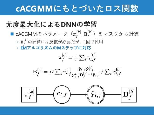cACGMMにもとづいたロス関数 尤度最大化によるDNNの学習 ◼ cACGMMのパラメータ(𝜋 𝑓 [𝑘] , 𝐁 𝑓 [𝑘] )をマスクから計算 ◦ 𝐁 𝑓 [𝑘] の計算には反復が必要だが,1回で代用 ◦ EMアルゴリズムのMステップに対応
