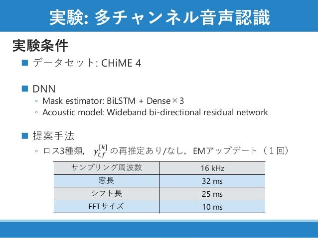 実験: 多チャンネル音声認識 実験条件 ◼ データセット: CHiME 4 ◼ DNN ◦ Mask estimator: BiLSTM + Dense×3 ◦ Acoustic model: Wideband bi-directional r...