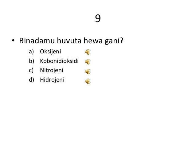9 • Binadamu huvuta hewa gani? a) Oksijeni b) Kobonidioksidi c) Nitrojeni d) Hidrojeni