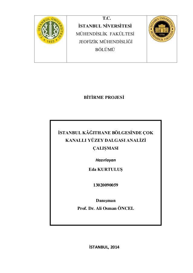 BİTİRME PROJESİ İSTANBUL, 2014 T.C. İSTANBUL NİVERSİTESİ MÜHENDİSLİK FAKÜLTESİ JEOFİZİK MÜHENDİSLİĞİ BÖLÜMÜ İSTANBUL KÂĞIT...