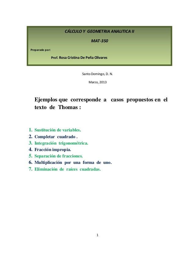 CÁLCULO Y GEOMETRIA ANALITICA II                                          MAT-350Preparado por:                 Prof. Rosa...