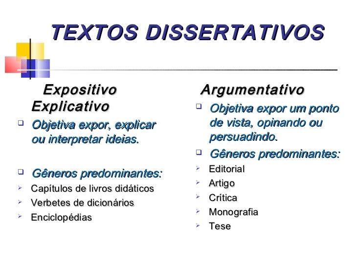 texto dissertation e argumentativo