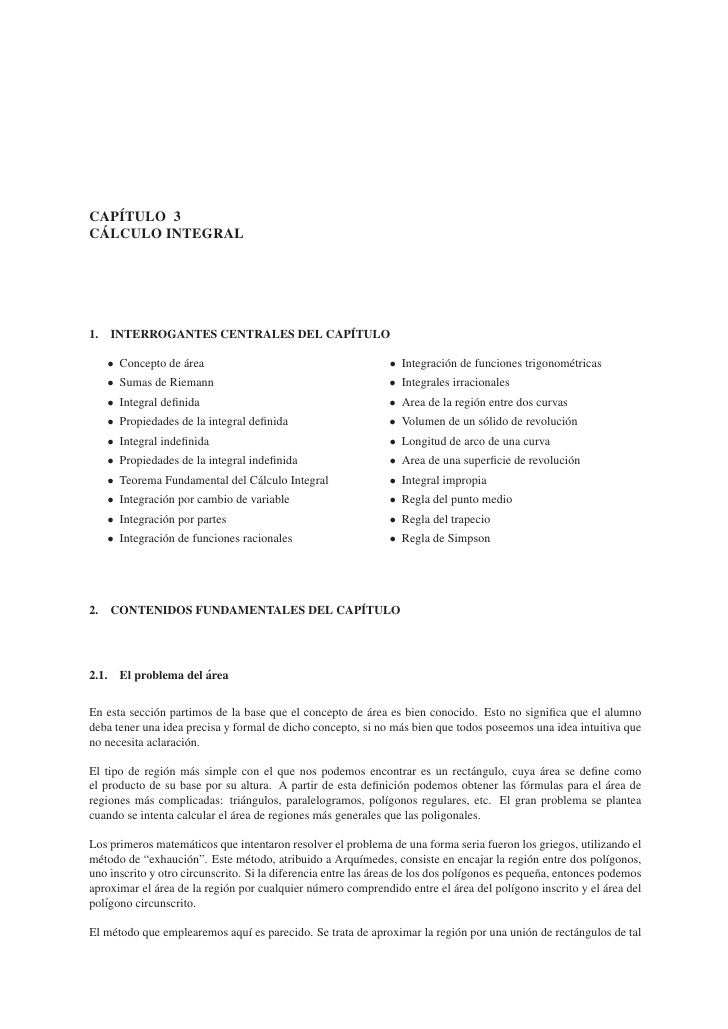 ´CAPITULO 3 ´CALCULO INTEGRAL1.                                  ´     INTERROGANTES CENTRALES DEL CAPITULO     • Concepto...