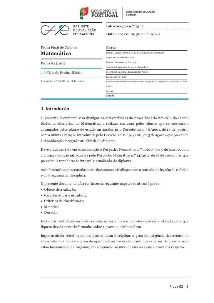 Informação n.º 25.12                                           Data: 2011.01.05 (Republicação)Prova Final de Ciclo de     ...