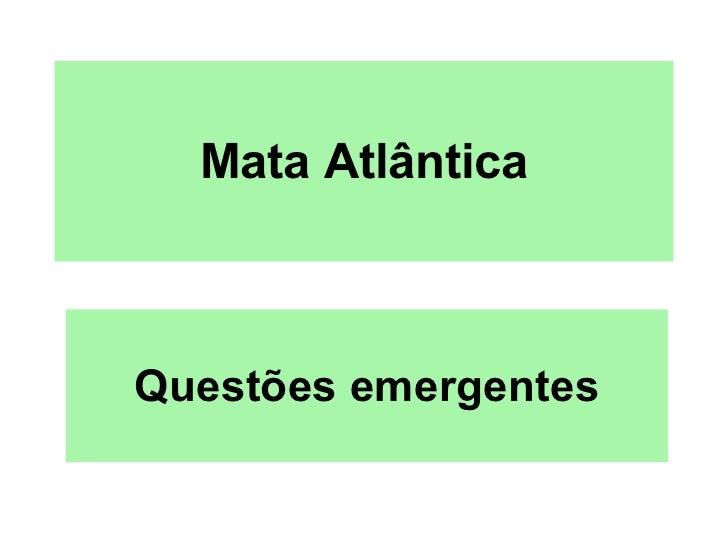 Mata Atlântica Questões emergentes
