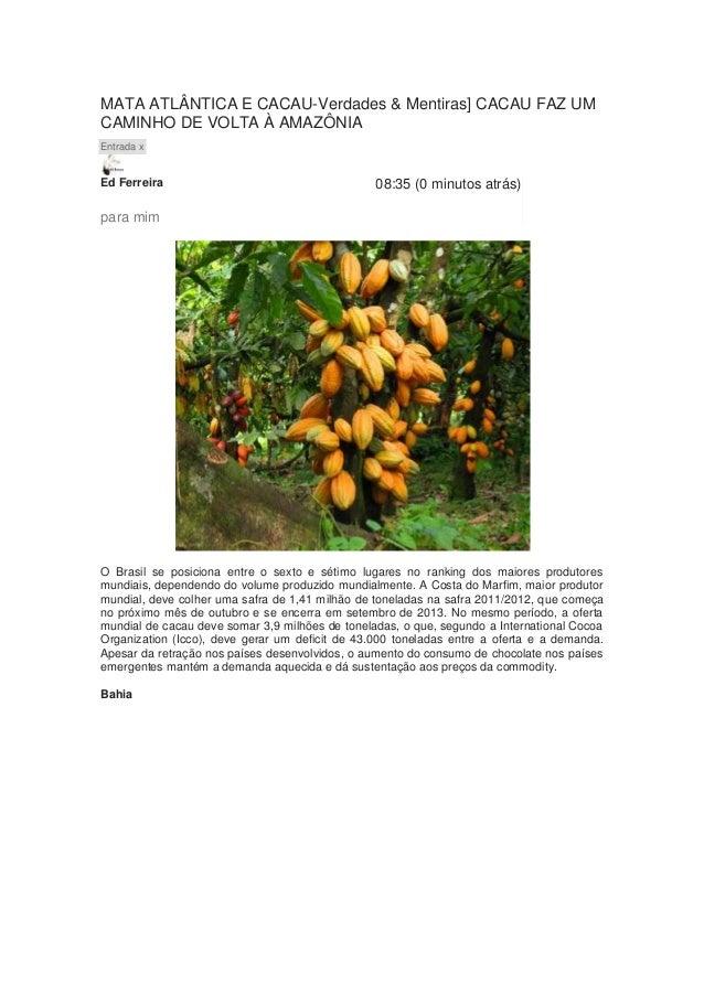 MATA ATLÂNTICA E CACAU-Verdades & Mentiras] CACAU FAZ UMCAMINHO DE VOLTA À AMAZÔNIAEntrada xEd Ferreira                   ...