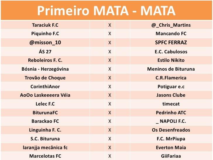 Primeiro MATA - MATA     Taraciuk F.C       X    @_Chris_Martins    Piquinho F.C        X      Mancando FC   @misson_10   ...