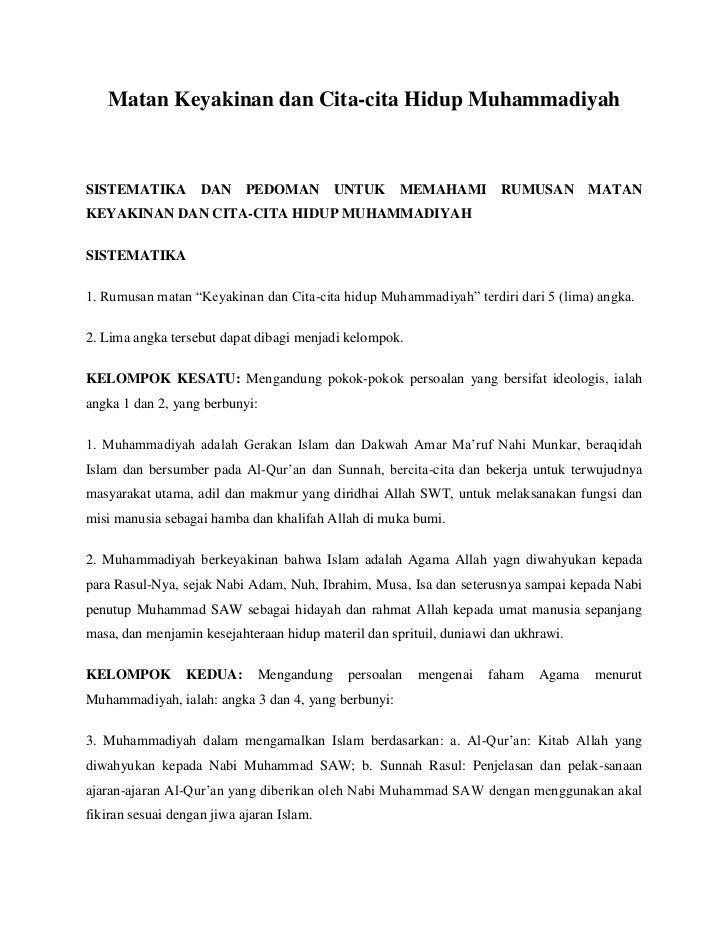 Matan Keyakinan dan Cita-cita Hidup MuhammadiyahSISTEMATIKA DAN             PEDOMAN UNTUK MEMAHAMI                    RUMU...