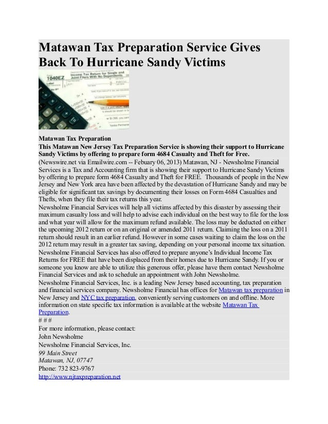 Matawan Tax Preparation Service GivesBack To Hurricane Sandy VictimsMatawan Tax PreparationThis Matawan New Jersey Tax Pre...