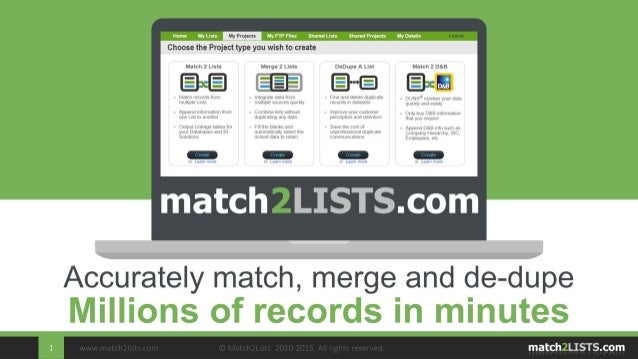 www.match2lists.com © Match2Lists 2010-2015. All rights reserved.1