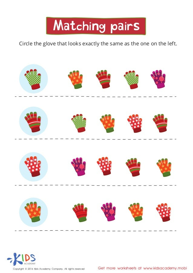 Matching pairs - learning worksheet for kids