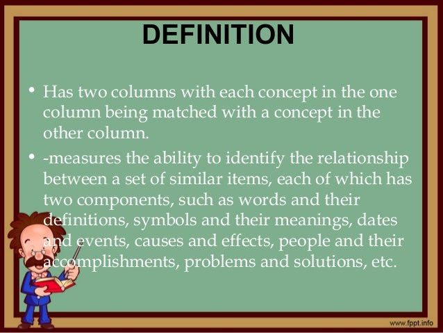 Matching Type Of Evaluation