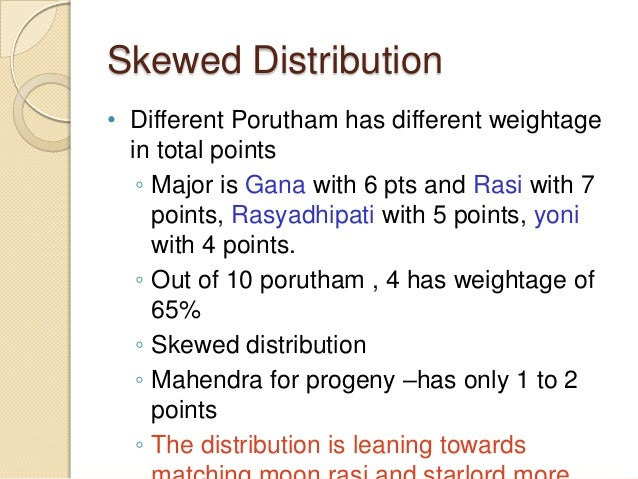 Skewed Distribution • Different Porutham has different weightage in total points ◦ Major is Gana with 6 pts and Rasi with ...