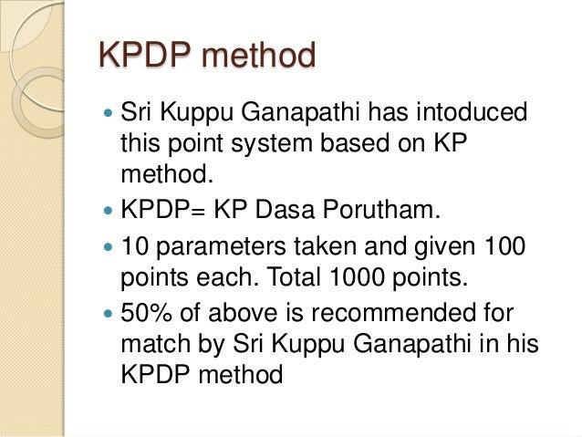 KPDP method  Sri Kuppu Ganapathi has intoduced this point system based on KP method.  KPDP= KP Dasa Porutham.  10 param...